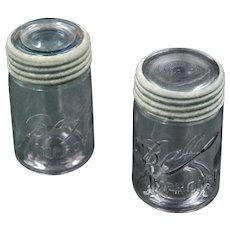 Vintage Pair of Lavender Ball Improved Canning Jars