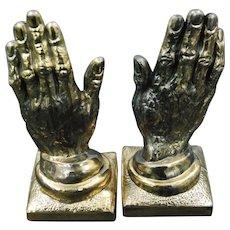 Praying Hands Brassed Bronze Bookends
