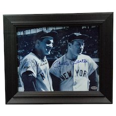 Vintage Signed Photo of Baseball Players Billy Mantle and Roger Maris with Certificate