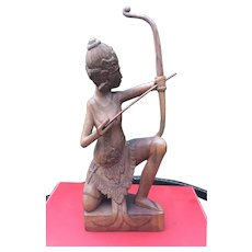 Balinese Indonesian Mid-Century Tribal Indiginous Art Albesia Wood Carving of Symbolic Female Archer Figure