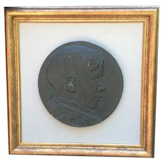 Antique Plaster Medallion Cameo of a Young Boy