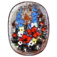 Large French Vintage 'Bouquet de Fleurs' Ceramic Wall Plate OR Serving Platter C1970 Signed by Artist