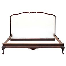 Art Deco French Bed C1920 Upholstered Mahogany Cabriolet Legs US Queen UK/EU King