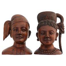 Pair of Carved Mahogany Busts Early 20th Century Folk Art