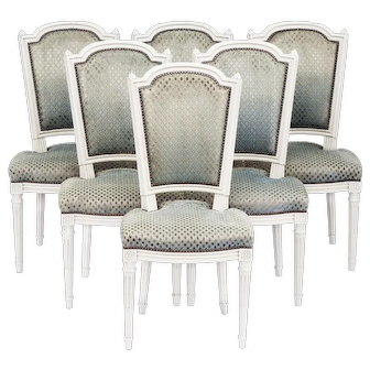 Six Louis XVI Dining Chairs French  Mid 20th Century Revival