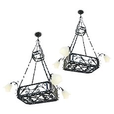 Pair of Monumental Belle Epoque Chandelier French Antique Lights