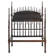 Antique Mahogany Portugese Bilros Bed 19th Century