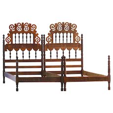 Folk Art Pair of Iberian Beds Early 20th Century Twin Singles or Super King