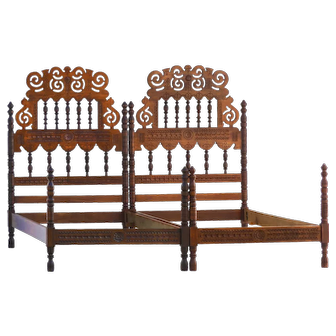 Pair of Iberian Beds Early 20th Century Folk Art Twin Singles or Super King