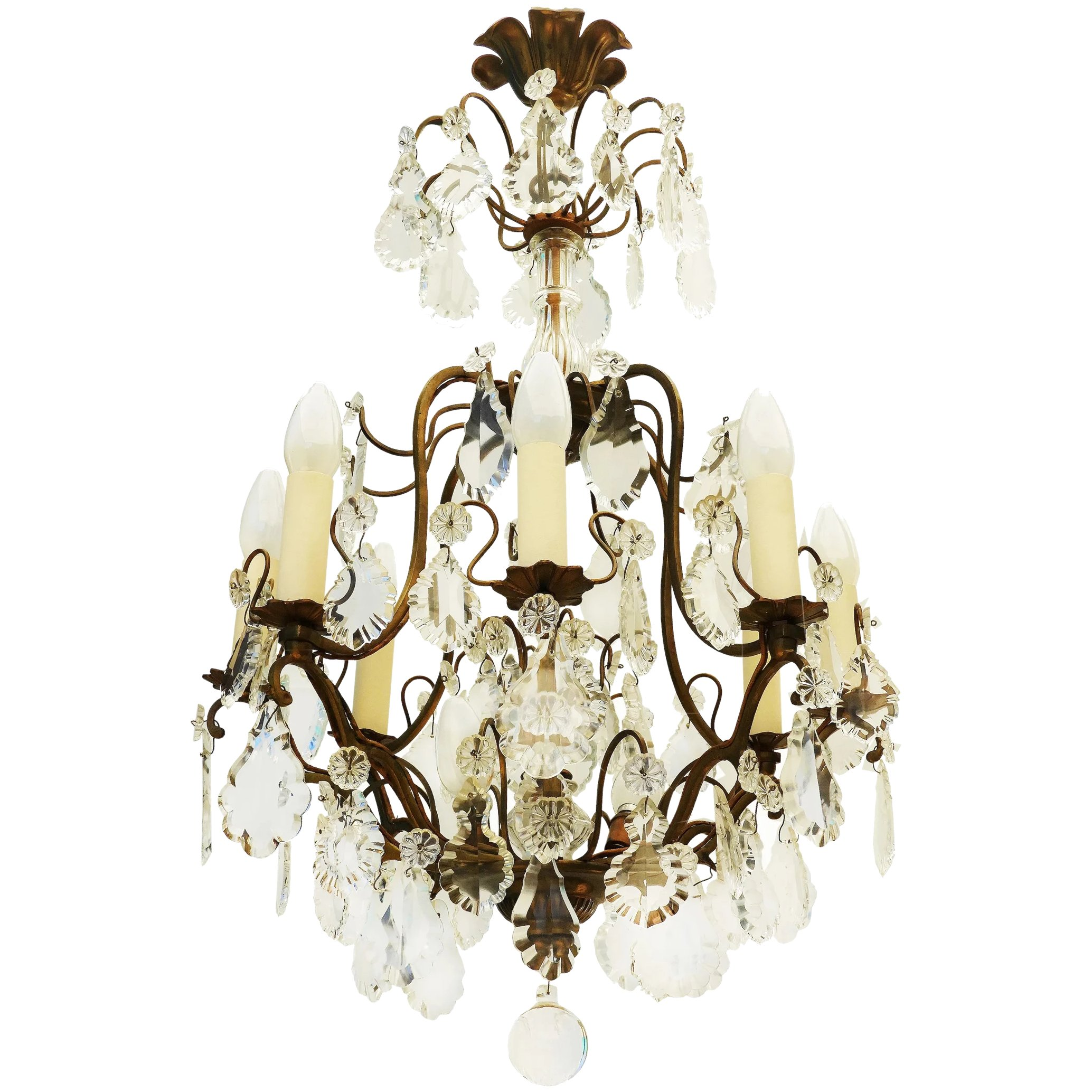 Typical from Paris Apartment French Cage Chandelier  3 bulbs L2 solid bronze and crystal prisms