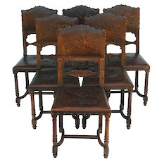 Six Antique Dining Chairs Gothic Revival Walnut and Dragon Embossed Leather C 1890