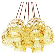 French Vintage Mid-Century Amber Bubble Glass Pendant Lights Circa 1970