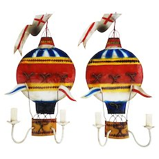 Pair of French Wall Light Sconces Lights C1950  Montgolfière Hot Air Balloon