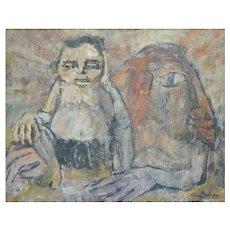 'Dans Les Bras Du Sphinx' Painting by Guy Salesse C1960 FRANCE