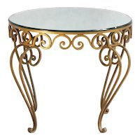 Gold Wrought Iron Mirror Top Occasional Table C1950 France
