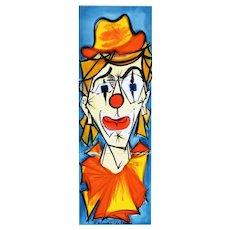 Mid Century Vallauris Ceramic Panel 'The Clown' by La Grange c1960