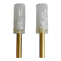 Vintage French Bubble Glass Torchère Wall Lights Circa 1960