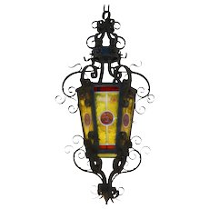 Large Arts and Crafts Wrought Iron Light Lantern c1900 France