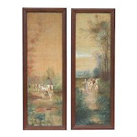 Pair of Large Antique Oil Paintings French Pastoral Scenes c1900