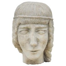 Carved Stone Female Head Sculpture Early 20th Century
