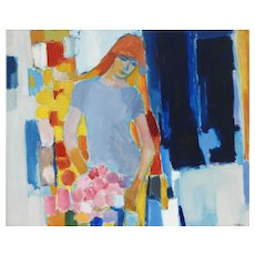 Large Mid Century Painting Portrait of a Young Woman c1960 Acrylic on Canvas