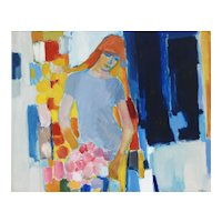 LargeFrench Mid Century Painting Portrait of a Young Woman c1960 Acrylic on Canvas