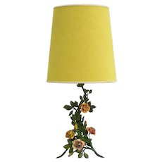 Vintage French Rose Flower Table Lamp c1950
