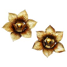 Pair of French Mid Century Gilded Tole Lights circa 1960
