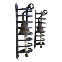 Pair of French Wrought Iron Caged Wall Lights