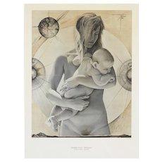 'La Jeune Femme a L'Enfant' by Pierre-Yves TREMOIS Plate Signed Large Art Print c1960