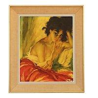 Mid Century Kitsch Wall Art Canvas 'Gypsy Girl' by Róka Károly c1960