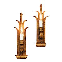 Pair of French Folk Art Gilded Iron Wall Light Sconces c1930