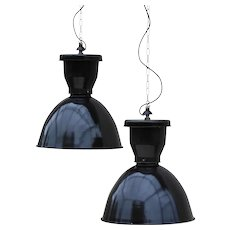 Pair of XL Industrial Pendant Lights 1950s France