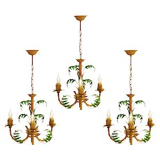 French Tôle 'Faux Bamboo' Chandeliers c1950