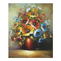Mid Century Still Life 'Anemones' Oil on Canvas c1950
