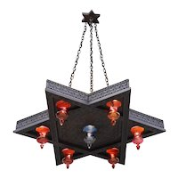 Vintage Moroccan Star-Shaped Chandelier c1950