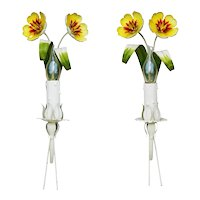 Italian Tôle Flower Wall Light Sconces c1960