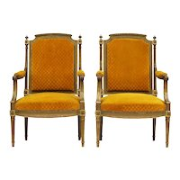 Pair of French Giltwood Side Chairs 20th Century Louis XVI - includes recovering