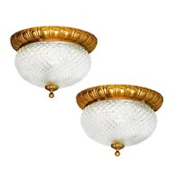 Pair of Flush Mount Ceiling or Wall Light Sconces c1960 France