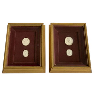 Two Pairs of Antique Grand Tour Italian Plaster Intaglios in Shadowbox Frames
