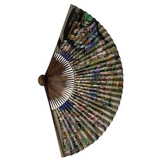 An antique Chinese Hand Painted Scenic Paper Fan, Qing Dynasty (19th Century)