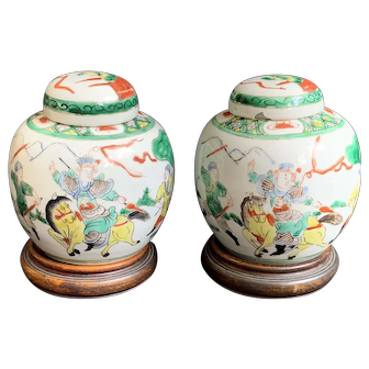 A Pair of Antique Chinese Famille Verte Enameled Porcelain Ginger Jars, Qing Dynasty (19th Century)