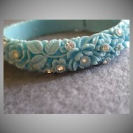 Vintage Blue Molded Floral Celluloid & Diamond Rhinestone Bangle Bracelet