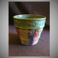 "A E Hull Pottery ""Early Art"" Jardiniere w/Embossed Design in Blended Glaze"