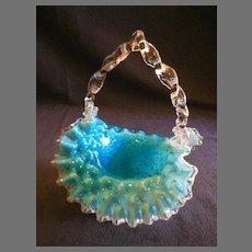 Blue/White/Clear Vasa Murrhina Glass Basket w/Twisted Handle