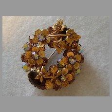 Regency Jewels AB Rhinestone, Cabochon & Gold-tone Floral Wreath Brooch