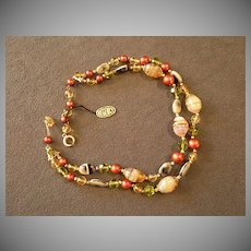 Regency Double-Strand Necklace of Art Glass, Aurora Borealis & Gold-Tone Beads