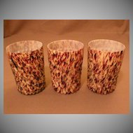 "Art Glass ""Spatter"" or ""End-of-Day"" Narrow Swirl Pattern Tumblers"