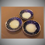 "Set of 3 - A.J.Wilkinson Flow Blue ""Mikado"" Pattern Butter Pats"
