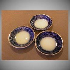 """Set of 3 - A.J.Wilkinson Flow Blue """"Mikado"""" Pattern Butter Pats"""
